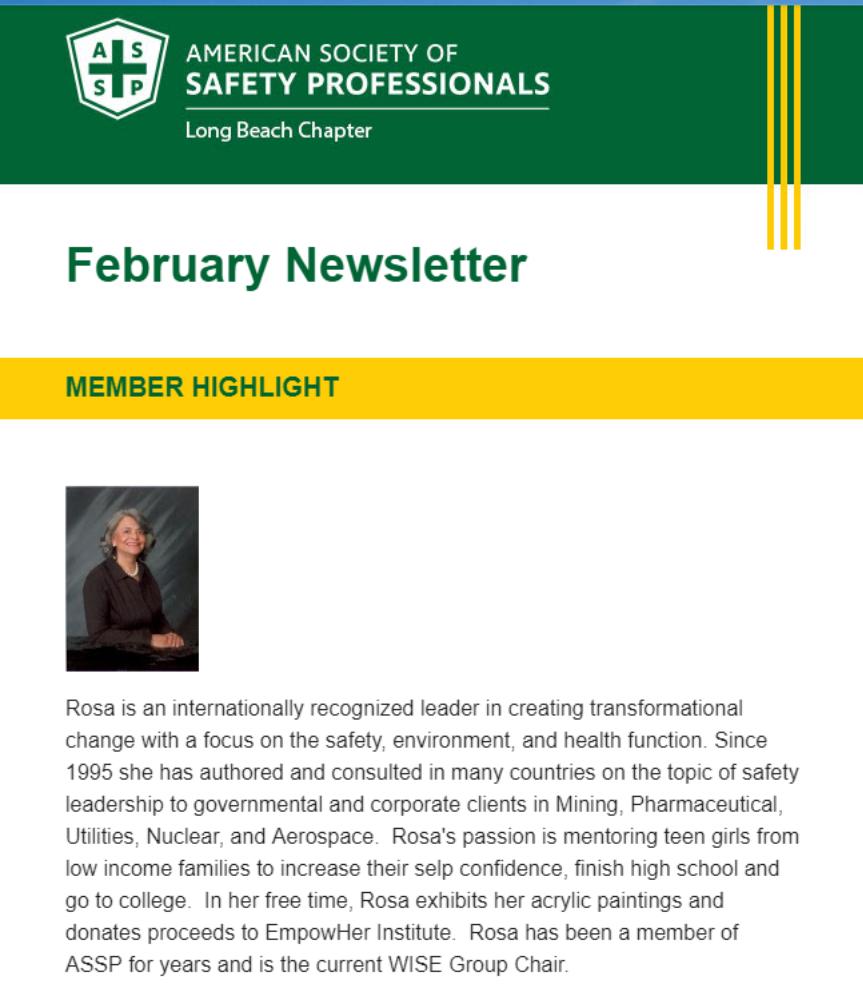 Rosa Carrillo: Featured Member in ASSP'sNewsletter