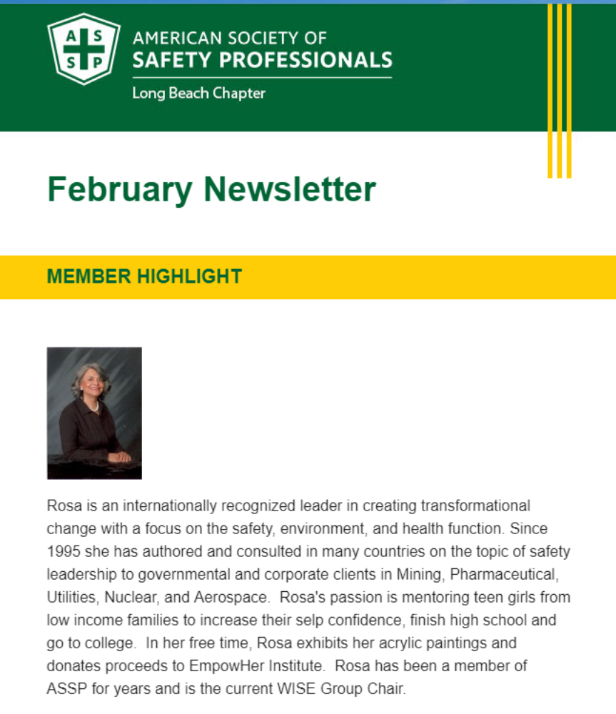 Rosa Carrillo: Featured Member in ASSP's Newsletter